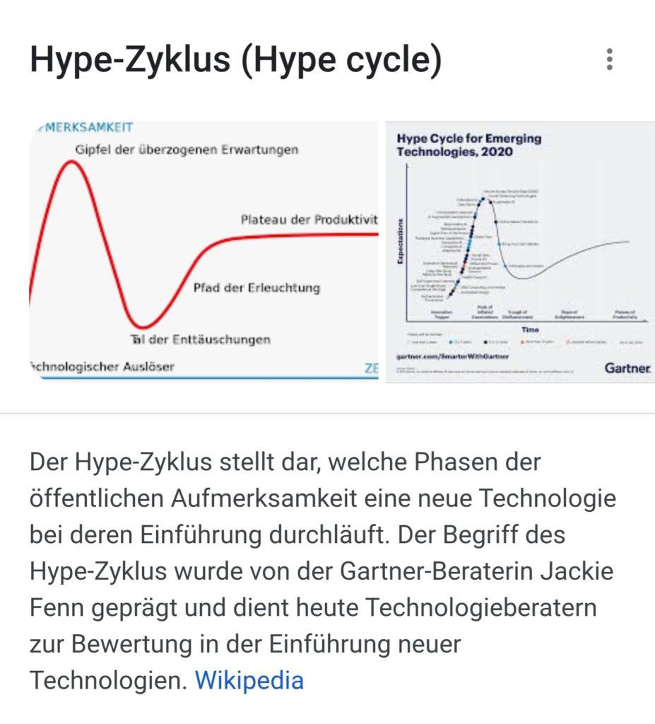 Gartner Hype Cycle für Hype-Aktien